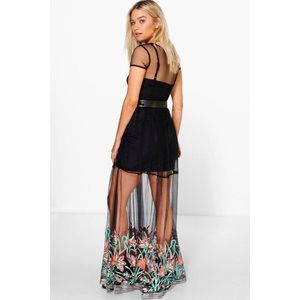 2aac7a838655b Boohoo Dresses   Boutique Kiko Embroidered Hem Mesh Maxi Dress 6 ...